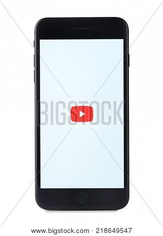 KIEV, UKRAINE - OCTOBER 09, 2017: Front view of Black iPhone 7 with Youtube app on screen, isolated on white