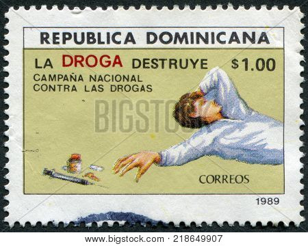 DOMINICAN REPUBLIC - CIRCA 1989: A stamp printed in the Dominican Republic, is devoted to anti-drug campaign, circa 1989