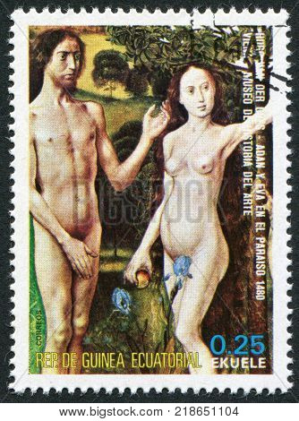 EQUATORIAL GUINEA - CIRCA 1975: A stamp printed in the Equatorial Guinea shows a painted picture of Hugo van der Goes