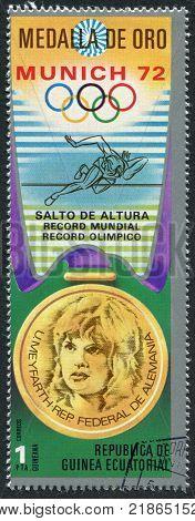 EQUATORIAL GUINEA - CIRCA 1972: A stamp printed in the Equatorial Guinea is devoted to the Summer Olympics in Munich-72 circa 1972