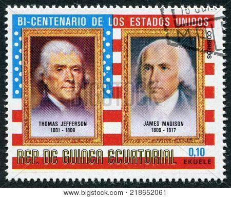 EQUATORIAL GUINEA - CIRCA 1975: A stamp printed in the Equatorial Guinea, shows former U.S. president Thomas Jefferson and James Madison, circa 1975