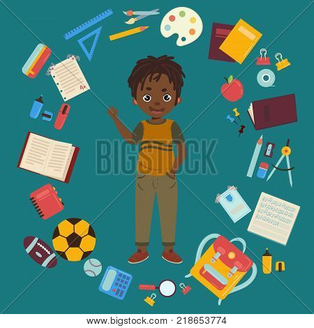 Boy with school supplies from his backpack. African american kid. Calculator, apple, magnifier, eraser, pens, brush, ruler, notebook, backpack globe watercolor Flat design illlustration with isolated objects