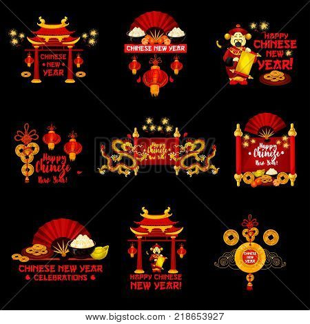 Chinese New Year holiday badge set. Oriental lantern, dragon and pagoda, gold coin, god of wealth and parchment scroll festive icon, adorned by firework for Lunar New Year or Spring Festival design