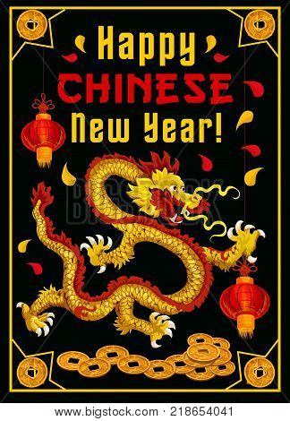 Happy Chinese New Year greeting card of Chinese dragon with paper lanterns and gold coins decorations and ornaments. Vector traditional China lunar year holiday celebration symbols on black background