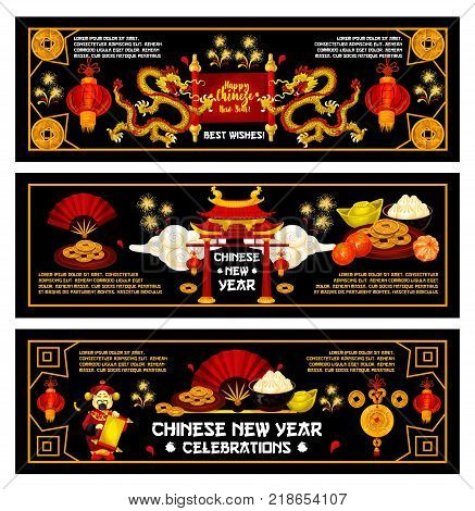Chinese New Year or Spring Festival holiday banner set. Dragon, pagoda and paper fan, decorated with red lantern, golden coin, mandarin and firework for oriental Lunar New Year greeting card design