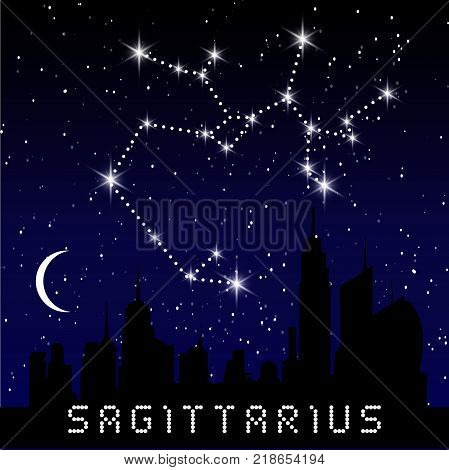 Sagittarius Zodiac Constellations Sign On Beautiful Starry Sky With Galaxy And Space Behind. Archer
