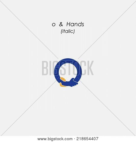 o - Letter abstract icon & hands logo design vector template. Business offer,partnership symbol. Hope,help concept. Support, teamwork sign.Corporate business & education logotype symbol.Vector illustration