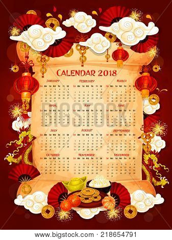 Chinese New Year calendar with Lunar holiday oriental symbols. Year calendar template on parchment scroll with frame of red lantern, dragon, fortune coin and firework, gold ingot, fan and oranges