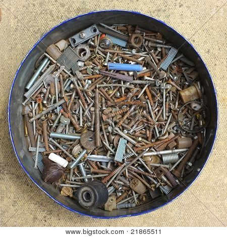 Tin of old screws and other bits