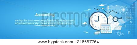Accounting Audit Business Horizontal Web Banner With Copy Space Flat Vector Illustration