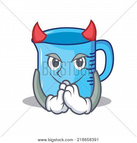 Devil measuring cup character cartoon vector illustartion