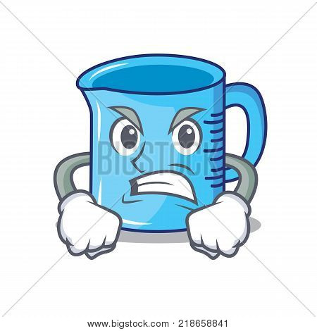 Angry measuring cup character cartoon vector illustartion