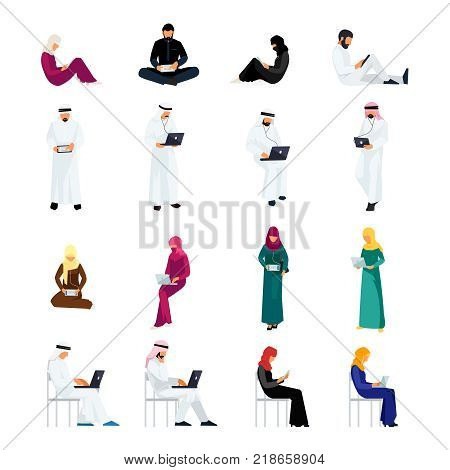 Set of Muslim people in a flat style isolated on a white background. Muslim men and women read using tablet pc and laptops. Flat people in traditional Arabian clothes. Vector illustration.