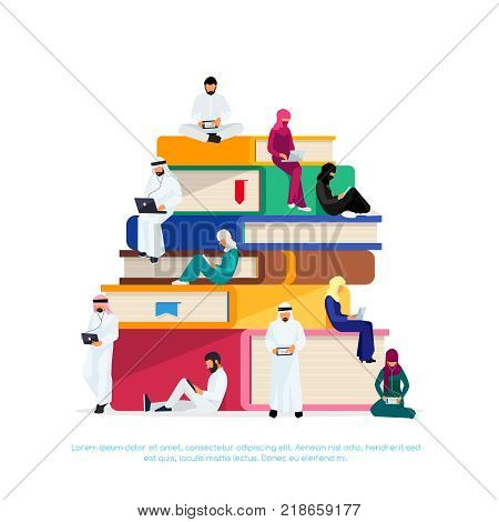 E-learning concept. Young Muslim people with tablet pc and laptops are engaged in distance learning on the Internet. Muslim students sitting on the pile of  the book busy reading. Vector illustration.