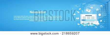 Newsletter Concept Horizontal Web Banner With Copy Space Flat Vector Illustration