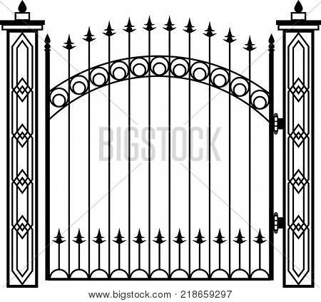 Wrought Iron Gate Pillar Raster Illustration