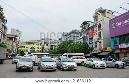 Ha Long Vietnam - May 23 2016. Cars on street at downtown in Ha Long Vietnam. Ha Long a city on Vietnam northern coast is a jumping-off point for Ha Long Bay.