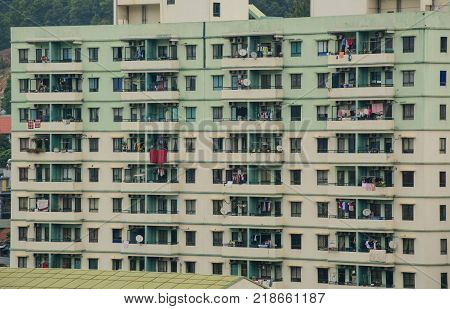 Ha Long Vietnam - May 23 2016. Facade of apartment at downtown in Ha Long Vietnam. Ha Long a city on Vietnam northern coast is a jumping-off point for Ha Long Bay.