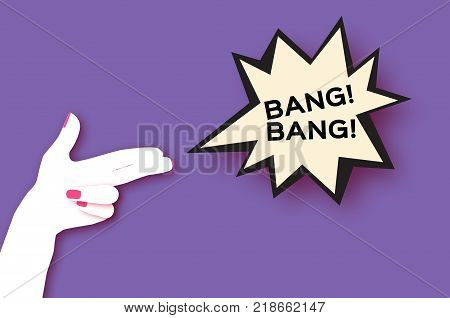 Origami Female holding Two fingers like a revolver in paper cut style. Dynamic Bang speech bubble on purple. Origami Woman hand. Bang text. Speech bubble. Vector