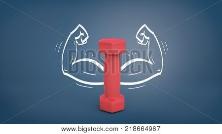 3d rendering of a small red dumbbell stands vertically on a blackboard background with drawn strong arms around it. Biceps workout. Gym and sports. Physical exercise.