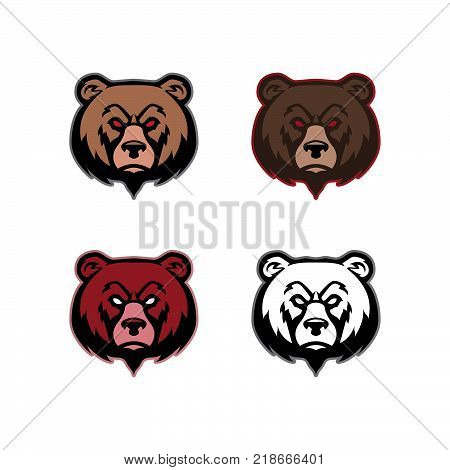 Bear Heads Mascot Graphic Vector Image Illustration