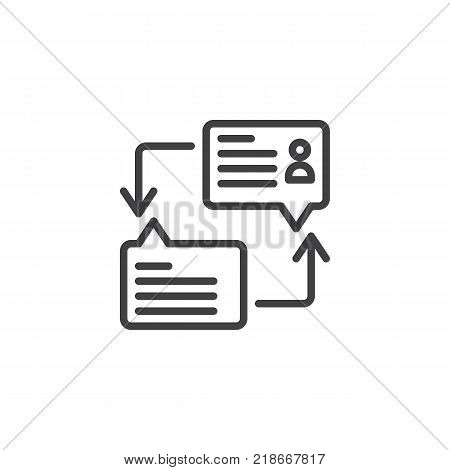 Dialogue speech bubbles line icon, outline vector sign, linear style pictogram isolated on white. Messaging chat symbol, logo illustration. Editable stroke