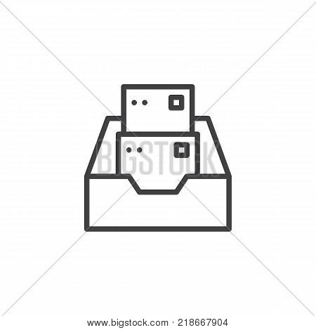 Inbox, Folder with files line icon, outline vector sign, linear style pictogram isolated on white. Open box with documents symbol, logo illustration. Editable stroke