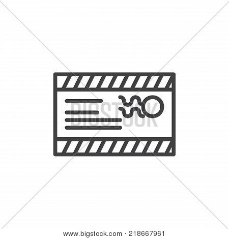 Mail envelope with a stamp and address line icon, outline vector sign, linear style pictogram isolated on white. Postcard symbol, logo illustration. Editable stroke