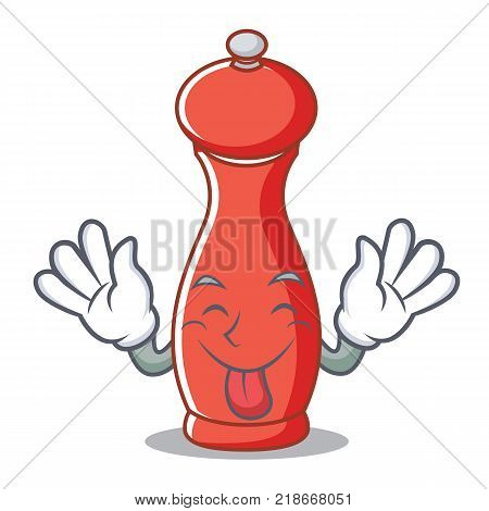 Tongue out pepper mill character cartoon vector illustration