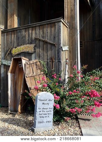 Pigeon Forge, Tennessee, United States-July 9, 2017:  Close up view of the Gem Mine tourist attraction