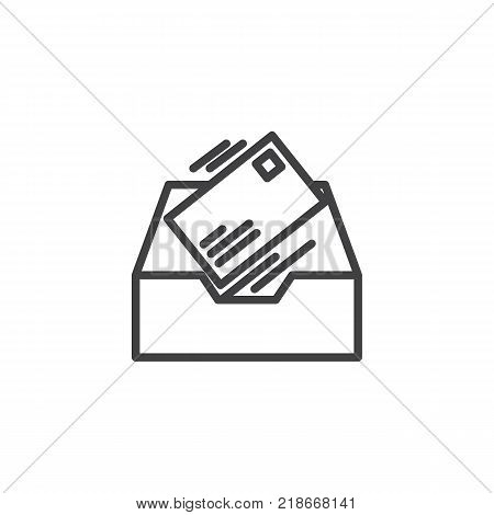 Inbox message line icon, outline vector sign, linear style pictogram isolated on white. Symbol, logo illustration. Editable stroke