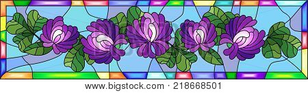 Illustration in stained glass style with flowers buds and leaves of clover in a bright frame horizontal orientation