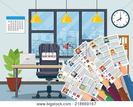 Hands holds resume, Workplace, office chair with vacancy sign, desk, table. Business hiring and recruitment, hr concept. Human resources management. Vector illustration in flat style