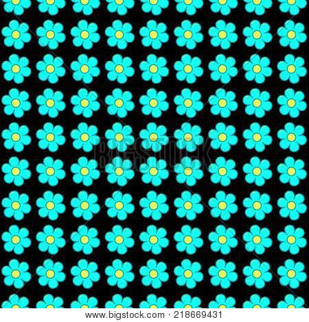 Forget me not flowers in rows seamless pattern