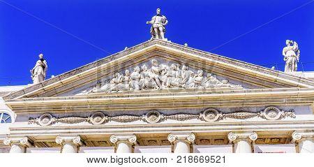 Art Museum Facade Frieze Statues Rossio Square Lisbon Portugal