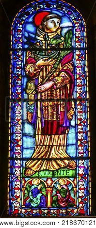 LISBON, PORTUGAL - SEPTEMBER 12, 2017 Saint Vincent Stained Glass Basilica The Se Sedes Episcopalis Cathedral Lisbon Portugal. Saint Vincnet is Patron Saint of Lisbon. Christian martyr that was tortured to death for his faith in 300 AD. Cathedral was buil