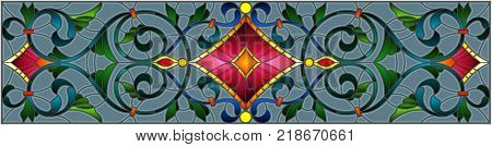Illustration in stained glass style with abstract swirlsflowers and leaves on a grey backgroundhorizontal orientation