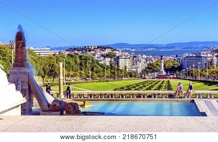 LISBON, PORTUGAL - SEPTEMBER 12, 2017 Eduardo VII Park Pombal Column Square Tagus River Overview Lisbon Portugal. Important Point in Lisbon.