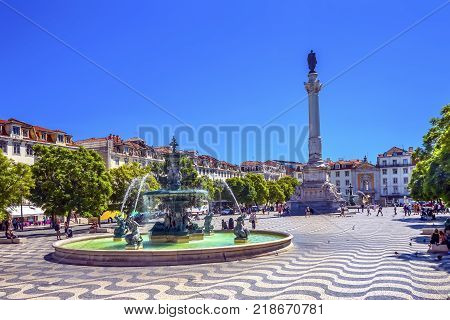 Column Pedro IV Fountain Rossio Square Lisbon Portugal. Rossio Square is main meeting spot in Lisbon. Column Pedro