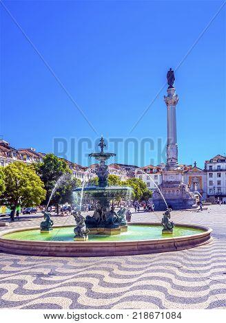 Column Pedro IV Fountain Rossio Square Lisbon Portugal. Rossio Square is main meeting spot in Lisbon. Column Pedro