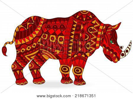 Illustration of abstract red rhino animal on white background isolate