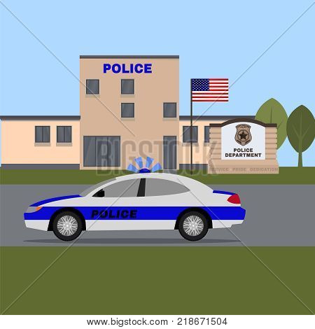 City Police Station Building. Vector Illustration With Policeman And Patrol Car In Flat Style Isolat