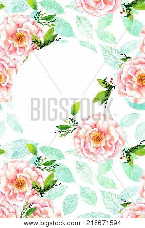 A wedding invitation or greeting card design template with drawings of pastel pink watercolor roses, teal leaves, and a place for text, vertical format