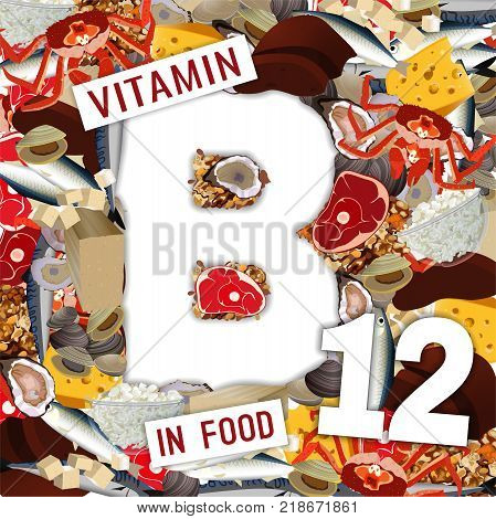 Foods Containing Vitamin B12 Colorful Background. Source Of Cyanocobalamine - Seafood, Fish, Dairy P