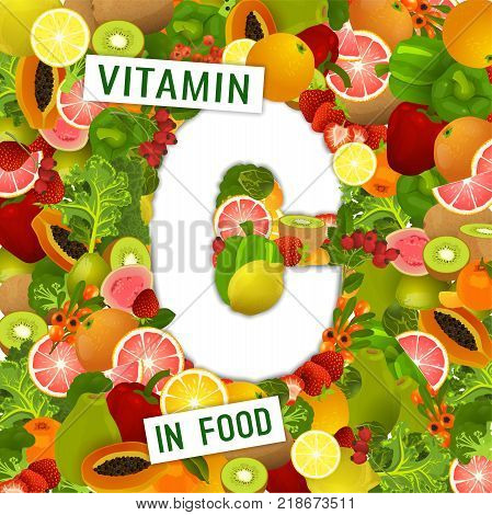 Foods containing vitamin C colorful background. Source of ascorbic acid - vegetables, fruits, berries. Medical, healthcare, gastronomy and dietary creative concept. Vector illustration. poster