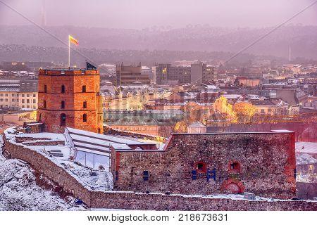 Vilnius, Lithuania: Upper or Gediminas Castle at sunset of winter