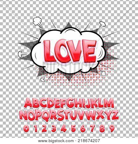 Comic lettering font Love 3d. Vector alphabet.Hand Lettering script font. Typography alphabet for Designs: Logos, Packaging Design, Poster. ABC...