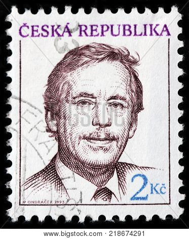 LUGA RUSSIA - OCTOBER 6 2017: A stamp printed by CZECH REPUBLIC shows Vaclav Havel - Czech writer and statesman who served as the 1st President of the Czech Republic circa 1993