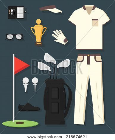 Concept of detailed golf equipment and clothing: trophy, bag, club, ball, flag, cap, gloves, shirt, shoe, pans. Man's sport. Isolated vector illustration in flat style