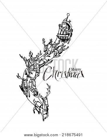Santa Claus rides reindeer sleigh flying in the white background vector illustration.